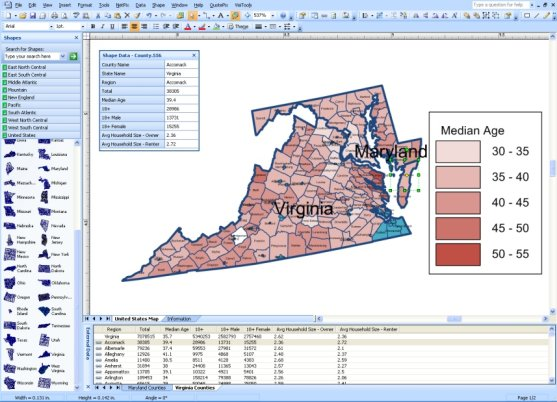 MapShapes linked to US Census data